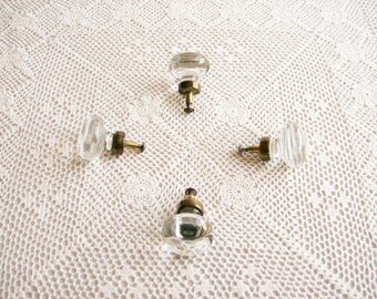 Vintage Glass Dresser Knobs Brass 1960's   Set of 4  Solid Molded Glass Shabby Decor