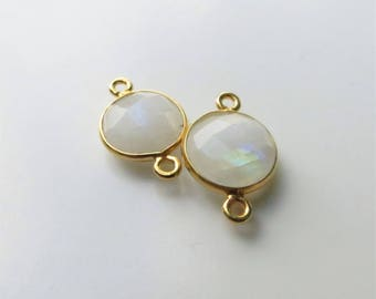 17mm Moonstone Bezel Connector, Round Faceted, Gold-Filled - Matching Pair (CN120)