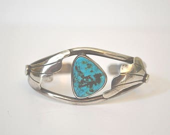 Turquoise Cuff Bracelet, Native American Bracelet, Vintage Cuff Bracelet, Sterling Silver Cuff Bracelet, Southwestern Bracelet