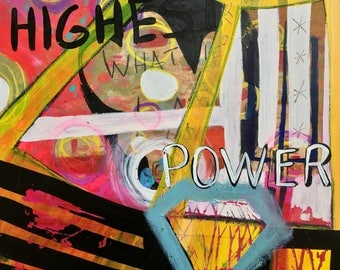 "Original ""highest power"" Painting,  Mixed-media, Visionary, Intuitive, Channeling, Acrylic, Watercolor, Love, Magic, Whitmire Art"