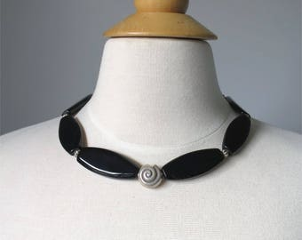 Black onyx short bold statement necklace with silver shell focal. HALF PRICE Take 50% off.