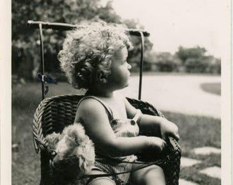 vintage photo  Baby Boy Golden Ringlets Plays w Teddy Bear 1940
