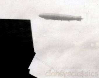 vintage photo 1929 RARE USS Los Angeles ZR-3 Zeppelin Airship Fly by Abstract House Original