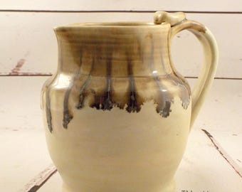 Stoneware Pitcher - Ceramic Pouring Jug - Sangria or Water Server - Vase - Ready to Ship - Cream, Jasper Brown Gold - Ewer - Gift Item  s522