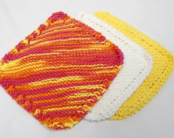 Knitted Cotton Wash Cloth Set of Three: Pink, Orange, Yellow and White