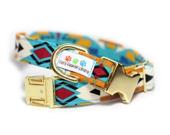 Aztec dog collar, Personalization optional, Tribal Collar - Shawnee, Personalization Available
