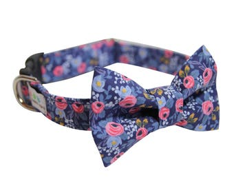 Floral Bowtie Dog Collar, Rosa Navy Bowtie Collar, Wedding Dog Collar, Rosa in Navy