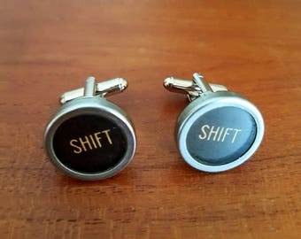 Black typewriter cufflinks / shift key cufflinks / vintage typewriter key accessories / men's accessory / wedding cufflinks