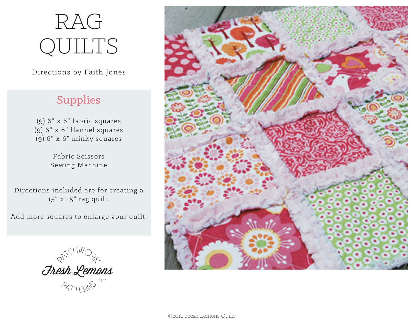 Sewing Pattern Rag Quilt Instructions