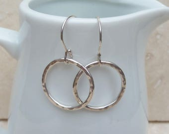 Sterling Silver Hammered Hoop Earrings - SILV021 - handmade, jewellery, gift, present, for her, Texture