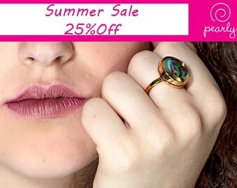 Sale - UNIQUE Ring - Circle Ring - Lampwork Jewelry - Glass Bead Jewelry - Interchangeable - everyday jewelry - 18k plated gold