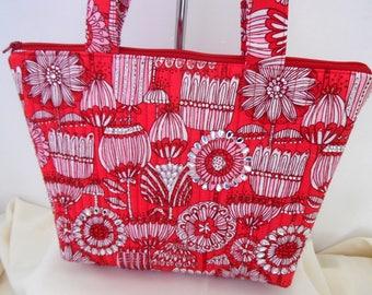 Embellished Red Floral Purse, Red Embellished Floral Bag, Quilted Red Floral Bag, Quilted Purse with Zipper,  Quilted Handbag with Crystals
