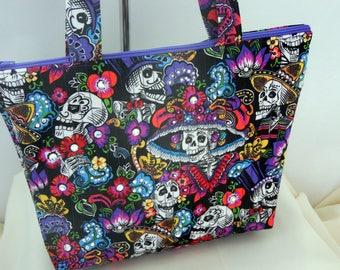 Day of the Dead Embellished Handbag, Dios de las Muertos Embellished Floral Bag, Quilted Purse with Crystals and Zipper, Sugar Skull Handbag