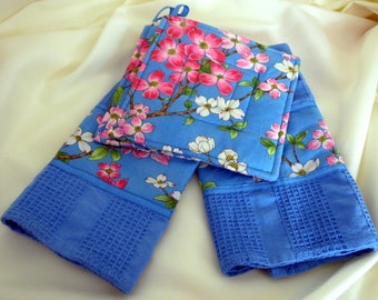 Cherry Blossom Kitchen Towels with Matching Potholders, Blue Kitchen Towel Set, Floral Kitchen Towels and Hot Pads, Cherry Blossoms