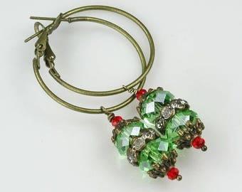 Green and Red Crystal and Bronze Hoop Earrings