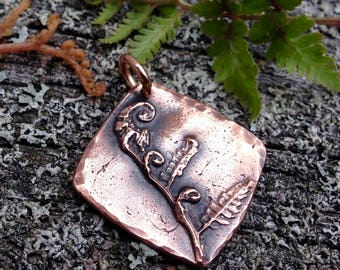 Copper Fiddlehead Fern Pendant, Unfurl Pendant, Fern Jewelry, Rustic Gift for Her, Woodland Jewelry, Plant Study, Forest Fern