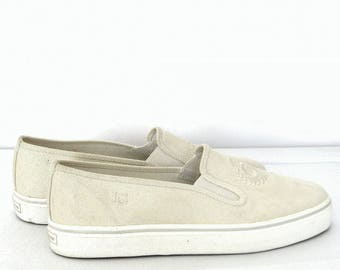 Women's Beige Canvas Slip On Boat Shoes Embroidered Detail  Liz Claiborne Monogram Sz  7.5M