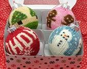 Reserved listing for Karen - Christmas ornament kit with 3 striping yarns and 1 picture yarn