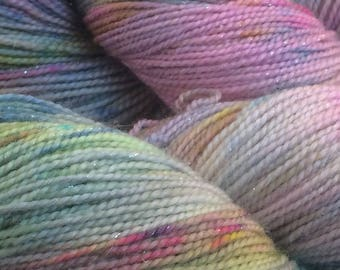 "Hand dyed sparkly sock yarn - colorway ""Renoir"" - in stock, ready to ship"