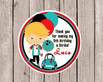 PRINTABLE Bowling Birthday Party Favor Tags in Red, Black and Teal / Print Your Own Personalized Bowling Stickers / Choose Hair Color
