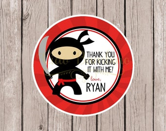 PRINTABLE Ninja Favor Tags for Ninja Birthday Party / Print Your Own Ninja Stickers or Tags Personalized with Name / Red and Black