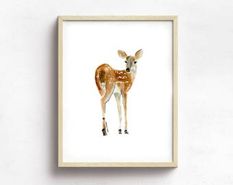 Deer Watercolor Painting Print, Oh Deer, Fawn Watercolor Art Print Wall Decor, Warm Brown Tones Home Decor, Children's Room Wall Art