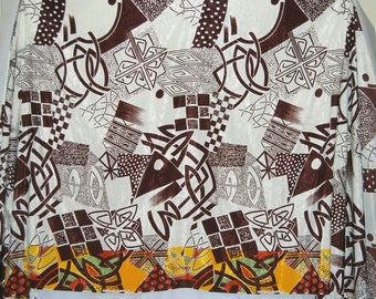 VINTAGE abstract mod 70s fabric Tiki inspired silkie poly apparel fabric