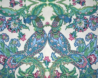 Peacock fabric vintage exotic bird fabric 90s home dec floral fabric Betsey LaMonte top of the bed