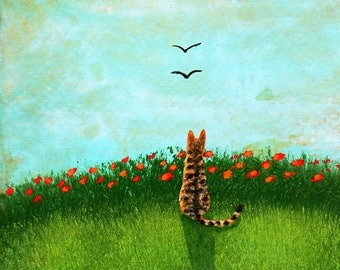 Bengal Serval Orange Tabby Cat Folk art PRINT of Todd Young painting SUMMER POPPIES