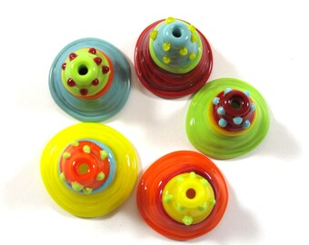 Bell Beads, Handmade Lampwork bead glass - Lampwork beads set - colorful (5) SRA