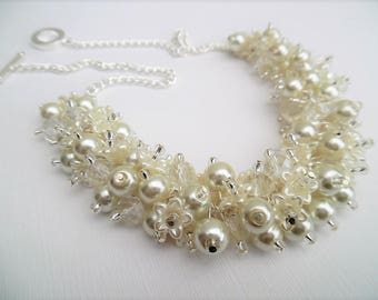 Ivory Pearl Beaded Necklace, Bridal Jewelry, Cluster Necklace, Chunky Necklace, Bridesmaid Gift, Pearl and Crystal Necklace with Flowers