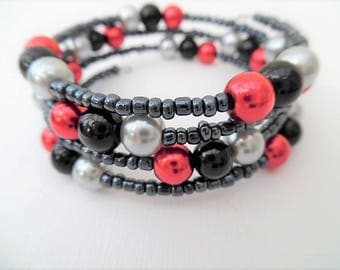 Black Red Silver Bracelet, Black Jewelry, Team Colours, Mothers Day Gift, Wrap Bracelet, One Size Bracelet, Gift For Her, Black Beads