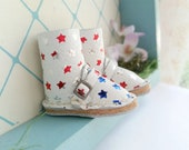 RESERVED Mini White Star Spangled Leather Boots Fit Neo Blythe Doll Pullip And Azone Pure Neemo Size M S Body