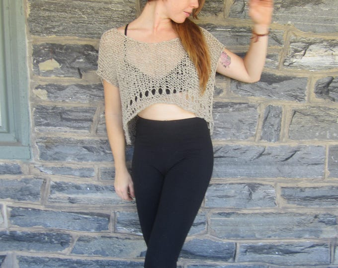 CROPPED TOP, Taupe  knit top, Knit cropped top,  FESTIVAL cropped top,  bohemian knit top, festival top, boho cropped top, gypsy cropped top