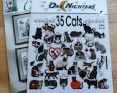 Lot 2 Cats Cross stitch needlepoint books Cats kitten kitty cat embroidery patterns/vintage 90s miniature cat cross stitch pattern booklets