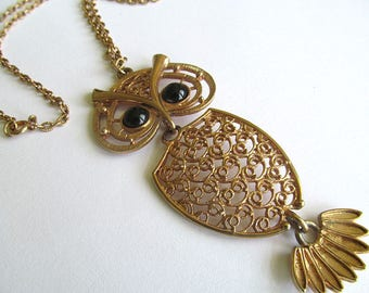 Coventry Large Owl Pendant Necklace, Sarah Coventry, Vintage Costume Jewelry, Retro Owl, Long Pendant Necklace, 1970s Jewelry, Hippie Chic