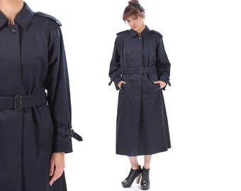 BURBERRYS Trench Coat . 1980s Peacoat Detective Navy Blue Belted Rain Coat Long Topcoat Raglan Sleeves Overcoat Retro Outerwear . Medium