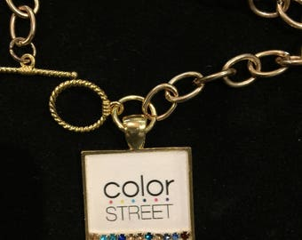 """Gold chain with white Color Street 7/8"""" square charm with a colored crystal row under jewelers grade epoxy ."""