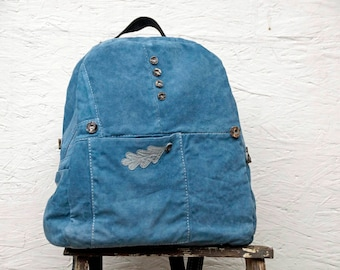 Big Blue Leather Backpack - Backpack Purse - Upcycled Leather - Rucksack Bag