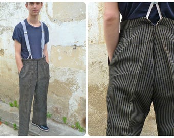 Vintage Antique 1930/1940 taylor made French striped  wool trousers pants