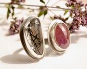 Pink Sapphire Ring, Tourmaline Quartz Ring, Pink Gemstone Ring, Rose Cut Stone Ring, Split Ring, Sterling Silver Ring, Handmade Artisan Ring