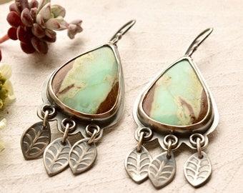Summer Sale Modern Silver Earrings, Chrysoprase Earrings, Mint Green Stone Earrings, Leaf Earrings