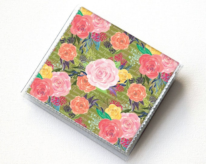 Handmade Vinyl Moo Square Card Holder - Joyful Spring4 / case, vinyl, snap, wallet, paper, mini card case, moo case, square, floral, summer