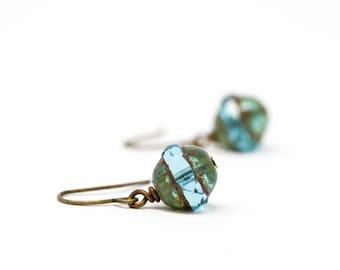 Green Earrings - Glass Bead Earrings - Beaded Earrings - Sea Foam Green Dangle Earrings - Rough Glass Earrings - Deep Green Earrings