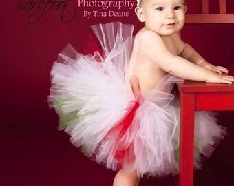 SUMMER SALE 20% OFF Christmas Tutu - red white green tutu - Christmas Candy Cutie - Custom Sewn 8'' Tutu - peppermint tutu - sizes Newborn t