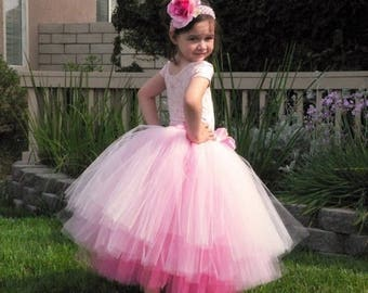 SUMMER SALE 20% OFF Flower Girl Skirt for Weddings, Blush, Custom Tutu Skirt, Sewn Three Tiered Pink Tutu, length up to 20'', children's siz