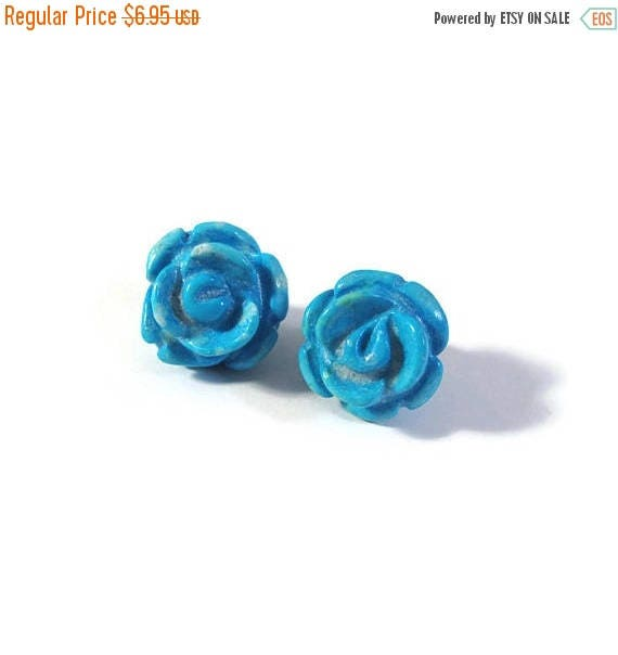 Summer SALEabration - Two Matching Gemstone Beads, 2 Turquoise Howlite Carved Rose Beads, 17mm x 12mm, Jewelry Supplies (Pt-Ho1c)