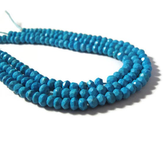 Turquoise Faceted Rondelles, 3.5mm - 4mm, Three 6.5 Inch Strands of Turquoise Beads, Jewelry Supplies (R-Tu1)