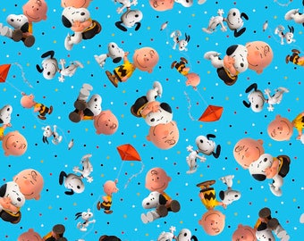 """Quilting Treasures, """"Good Friends"""" Charlie Brown and Snoopy Toss on Blue,  yard"""
