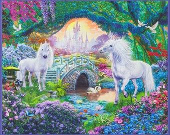 Picture This Panel from Robert Kaufman Fabrics, unicorns and fairies, 1 panel